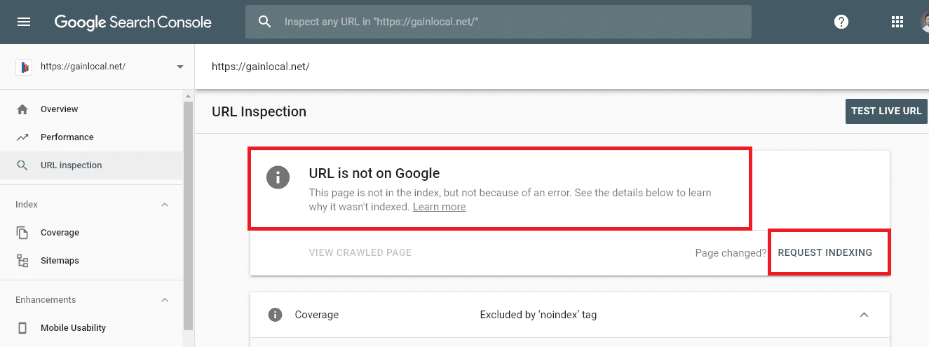 search console url is not in google