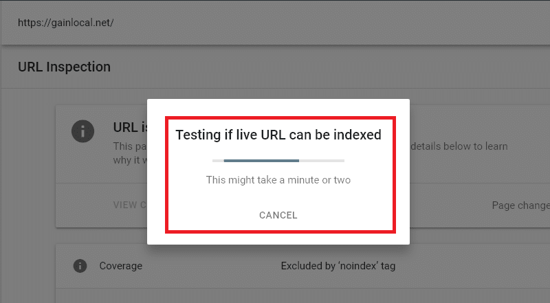 google search console testing url indexing