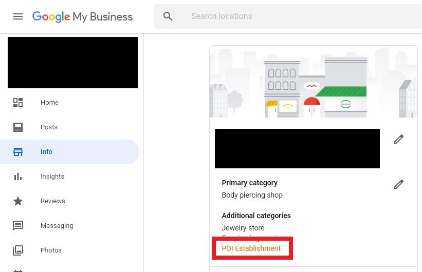 poi establishment category example google my business