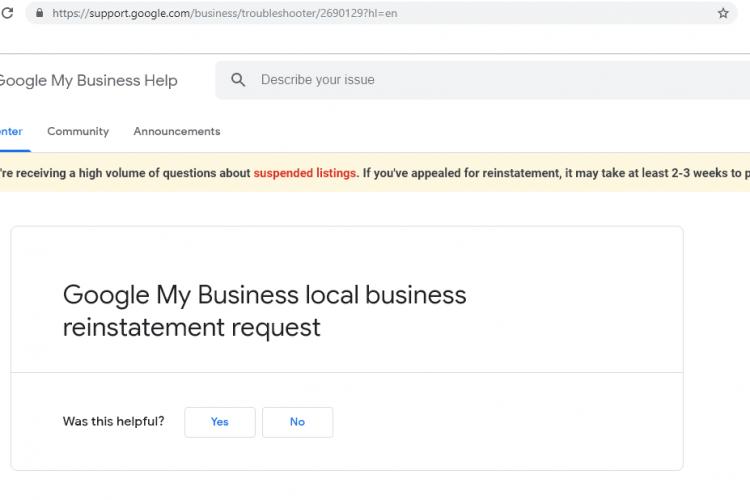 screenshot of google my business reinstatement form down