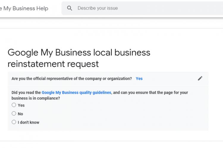google my business suspension reinstatement form screenshot
