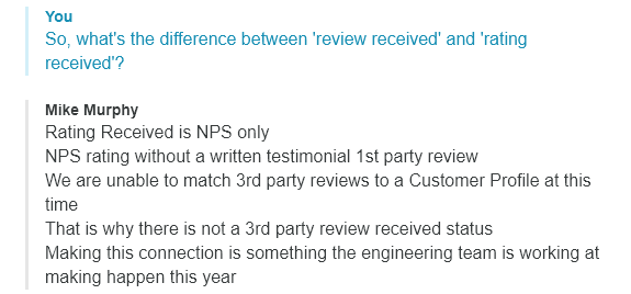 gatherup chat support explaining difference between review and rating received