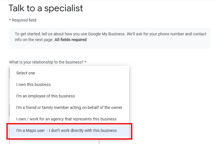 google my business phone contact form user types