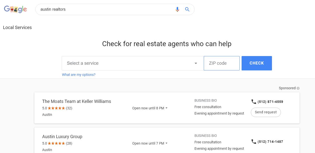 google real estate agent search engine austin screenshot