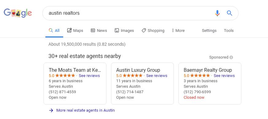 google real estate agent search austin texas screenshot