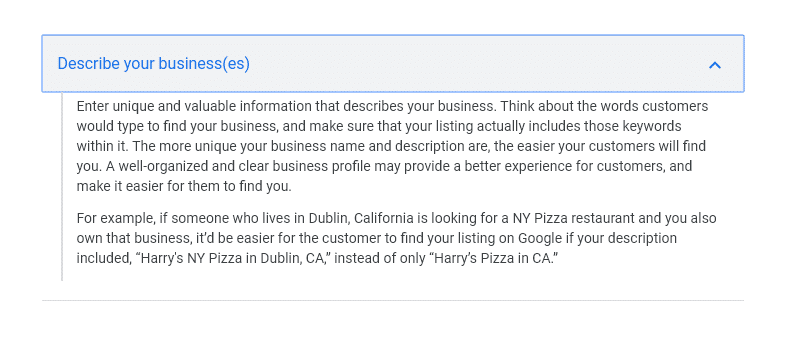 google my business description guideline for keywords on profile