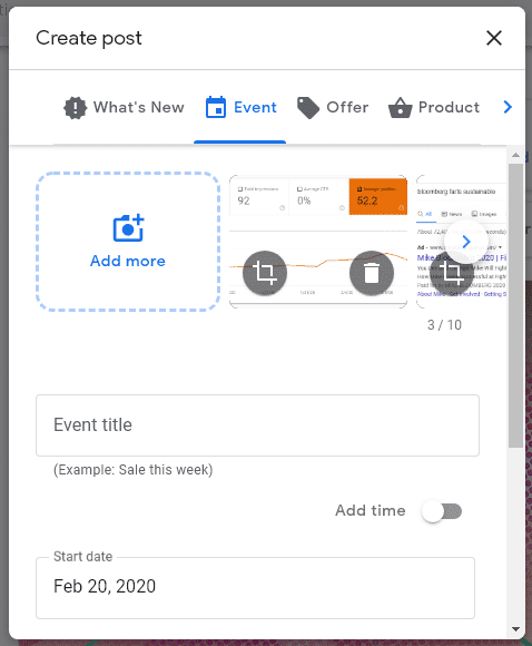 event post on google my business with 10 photos or videos allowed