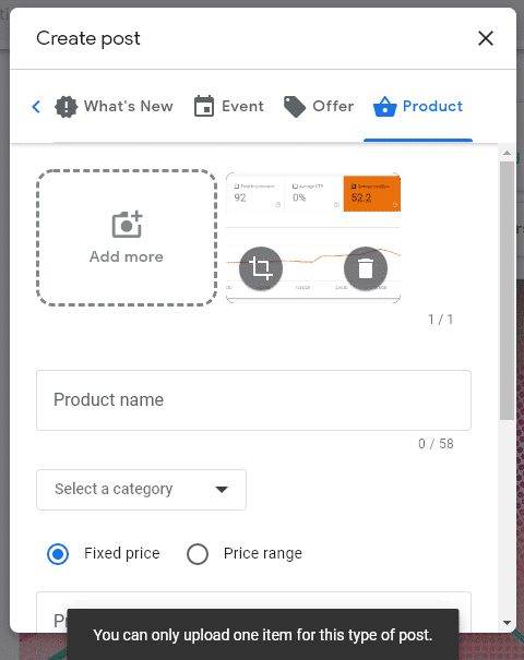 product post on google my business with only 1 photo or video allowed