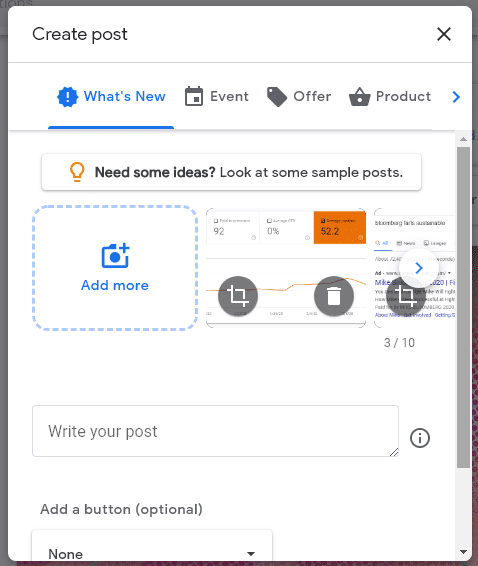 what's new post on google my business with 10 photos or videos allowed