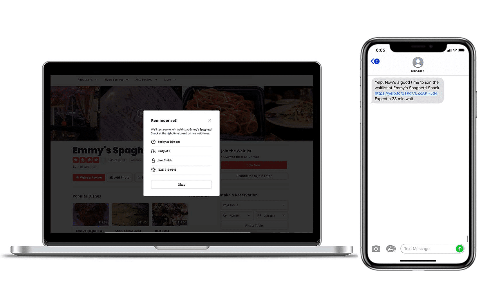 example of yelp notify me on desktop and android