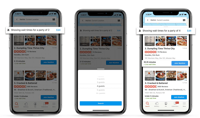 yelp waitlist search by party size example smartphone