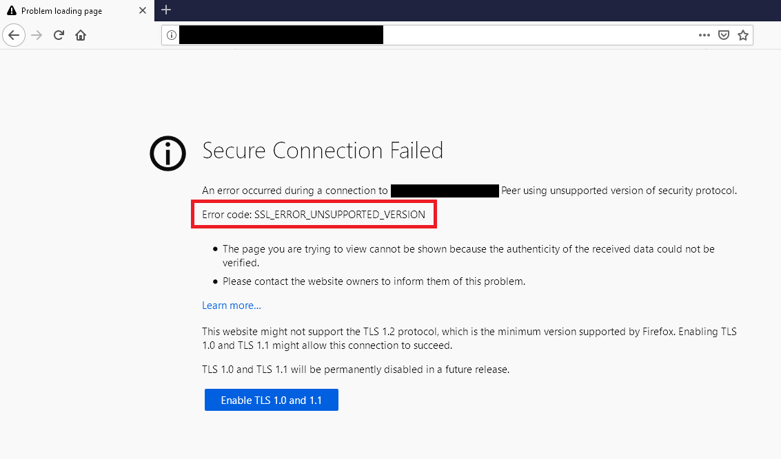 firefox outdated TLS / SSL message for deprecated protocols july 2020