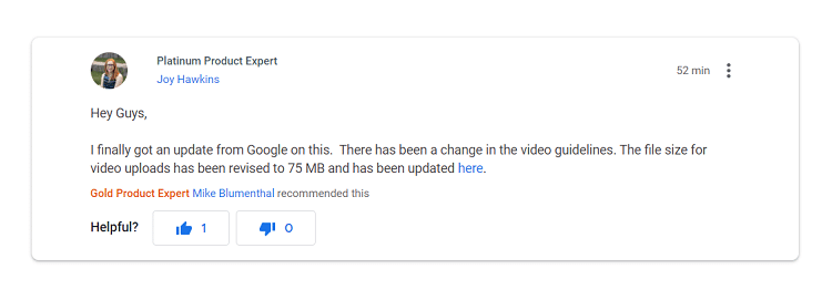 google product forum google my business video size update 2020