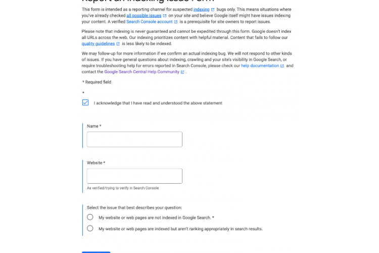 Google indexing tool form